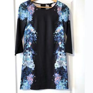 H&M black and blue floral dress size 2